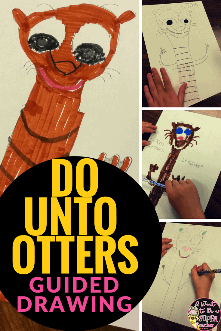 Cute back to school book and art project! Elementary teachers can use Do Unto Otters as a read aloud to set up classroom rules and expectations. Then have students create otter guided drawings with the steps given. This would make a perfect {yearlong} bulletin board display for 2nd & 3rd grade classrooms. #education #dountootters #backtoschool #2ndgrade #3rdgrade