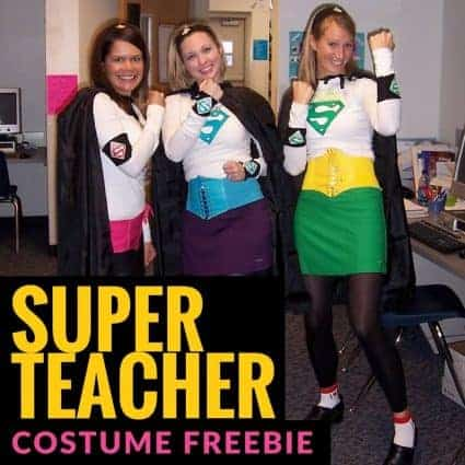 Be a Super Teacher for Halloween, School Spirit Days, or just for fun! A DIY superhero costume perfect for elementary teachers and teaching teams. Click for three FREE Super Teacher iron on patterns. #halloween #halloweencostume #diyhalloweencostume #superteachercostume #teachercostume #freebie #costumes #superhero