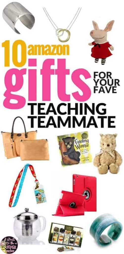 Looking for the perfect gift for your favorite elementary teacher or teaching teammate? Check out these Amazon gift ideas for Christmas, back to school, birthdays, end of the school year, teacher appreciation, or any holiday you want to get your favorite educator something cute & useful! Even on a budget you can find the perfect present for your fave classroom teacher in these 10 teacher teammate gift ideas! #christmas #christmasgifts #giftideas #Amazon #AmazonPrime