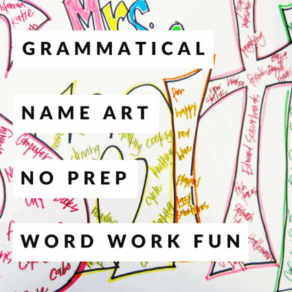 """A NO PREP art/language activity teachers can use any time during the year. All you need is paper! Use this project to transition back after winter or spring break. This activity can also work as a back to school """"get to know you"""" project or a fun way to review parts of speech. Use this fun kid friendly project in 2nd, 3rd, 4th, and even 5th grade! #education #grammar #projectsforkids #elementaryeducation #secondgrade #thirdgrade #fourthgrade #fifthgrade #teach #teachers"""