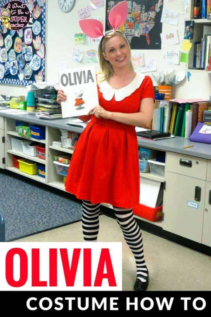 A simple idea for a DIY teacher Halloween or March is Reading Month book character costume! Be Olivia the pig! Put together your own book character costume with just a dress, ears, and tights. Click for links and instructions. The ears are my fave! #education #teachercostume #olivia #oliviathepig #oliviacostume #diycostume #costume #costumes