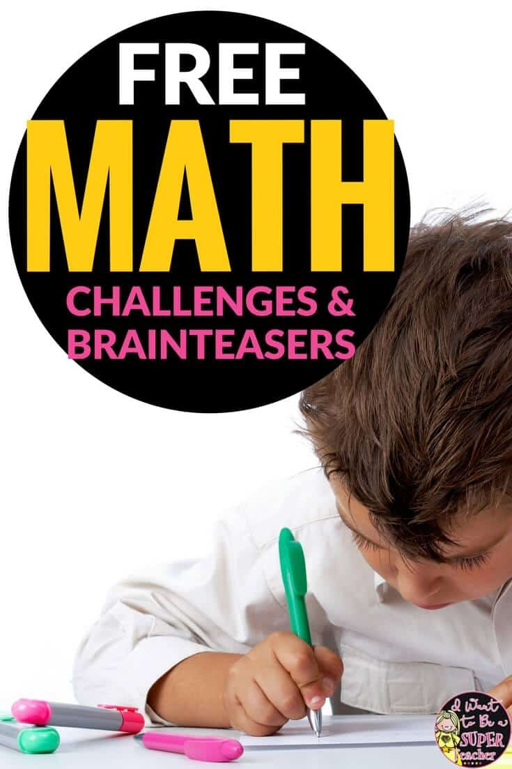 These math challenge and brain teaser activities for elementary students can be used for centers, weekly challenges, small groups, or whole class problem solving. Fun for kids and easy for teachers! Perfect for 2nd and 3rd grade. #freebies #education #math #secondgrade #thirdgrade #freeprintables #elementaryeducation #elementaryclassroom #teacherspayteachers