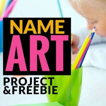 Looking for a simple art project and year long bulletin board solution? Try this bubble letter name art idea! Super easy to prep and makes for darling year long bulletin boards for 2nd and 3rd grade classrooms. Love the mentor texts too! #artprojectsforkids #bulletinboards #freebie