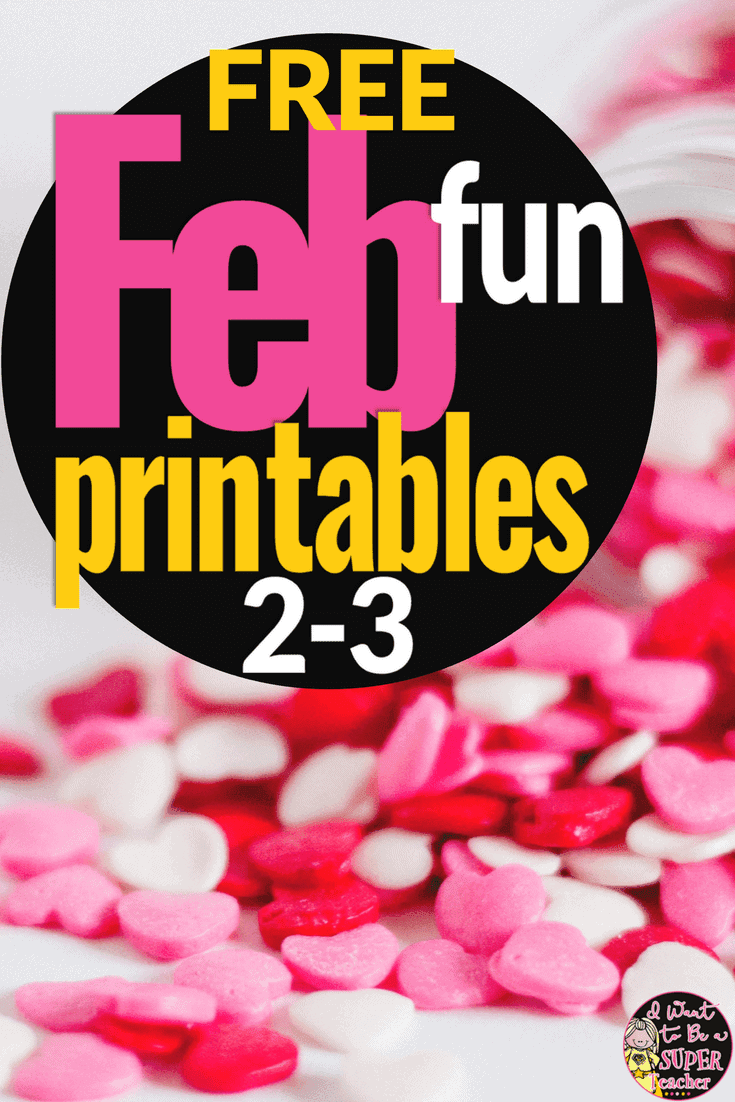 Four FREE math and language activities for 2nd and 3rd grade kids teachers can use during the month of February! These free printables are perfect for centers, morning work, homework, or your classroom Valentine's Day party. Includes 2 math brainteasers (Valentine's Day & Winter Olympics themes), a Valentine's Day make-a-word-find, and a valentine candy brainstorm page for students. Fun for kids and NO PREP for teachers. Click for the free download. #free #secondgrade #thirdgrade