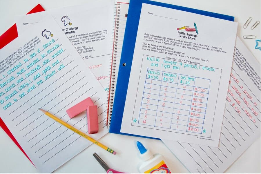Use these FREE math challenge and brain teaser activities to challenge your 2nd and 3rd grade elementary students with NO PREP required! These math problems can be used as math centers, math homework, morning work, math centers, small groups, problem of the week, or whole class problem solving! These free math worksheets are perfect for advanced kids in second and third grade. Click over to get the free printables sent right to your email. #education #freebie #math #secondgrade #thirdgrade #free