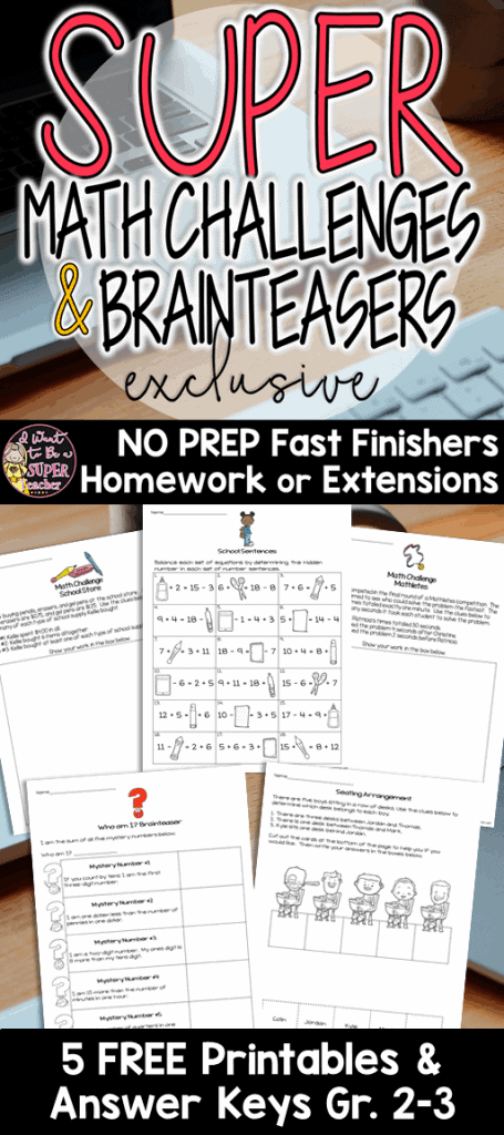 FREE math activities to challenge your advanced 2nd and 3rd grade elementary students. Use these math challenge and brain teaser activities as math centers, morning work, small group activities, or problem of the week! Perfect for advanced kids in second and third grade. Click for the free printables! #education #math #freebie #mathchallenge #differentiation #secondgrade #thirdgrade