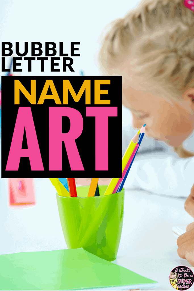 This bubble letter name art idea is an easy name art project for kids AND a year long bulletin board solution! Easy to prep and a great fit for 2nd, 3rd, 4th, and 5th grade classrooms. Use at back to school or whenever you need an easy art project. Click for the free editable name art templates. #freeprintables #artprojectsforkids #education #elementaryeducation #elementaryclassroom #bulletinboard #secondgrade #thirdgrade #fourthgrade #fifthgrade
