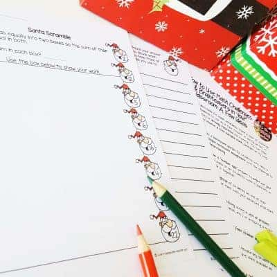 A FREE Christmas math activity. Just print and go! This December math challenge worksheet is perfect for advanced 2nd and 3rd graders. Use for math center activities, homework, problem of the week, small groups, or to get a breather during a holiday party. Fun for kids and NO PREP for teachers! Click for the free download. #christmas #free #christmasmath #education #math #secondgrade #thirdgrade #differentiation