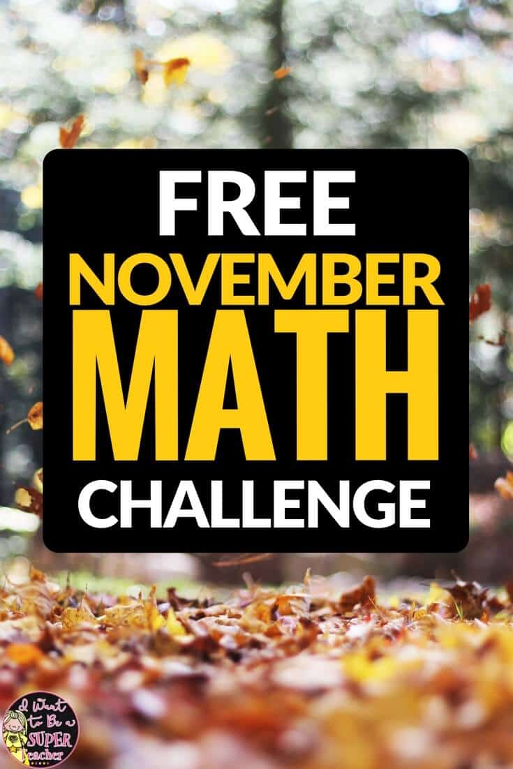 A FREE Thanksgiving or fall themed math activity. Just print and go! This November math challenge worksheet is perfect for advanced 2nd and 3rd graders. Use for math center activities, homework, problem of the week, small groups, or to get a breather during a holiday party. Fun for kids and NO PREP for teachers! Click for the free download. #secondgrade #thirdgrade #thanksgiving #math