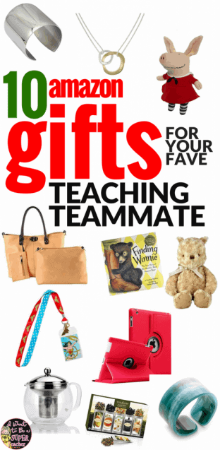 Looking for the perfect Christmas gift for your favorite elementary teacher or teaching teammate? Check out these Amazon gift ideas for Christmas, back to school, birthdays, end of the school year, teacher appreciation, or any holiday you want to get your favorite educator something cute & useful! Even on a budget you can find the perfect present for your fave classroom teacher in these 10 teacher teammate gift ideas! #christmas #christmasgifts #giftideas #Amazon #AmazonPrime #teachergifts