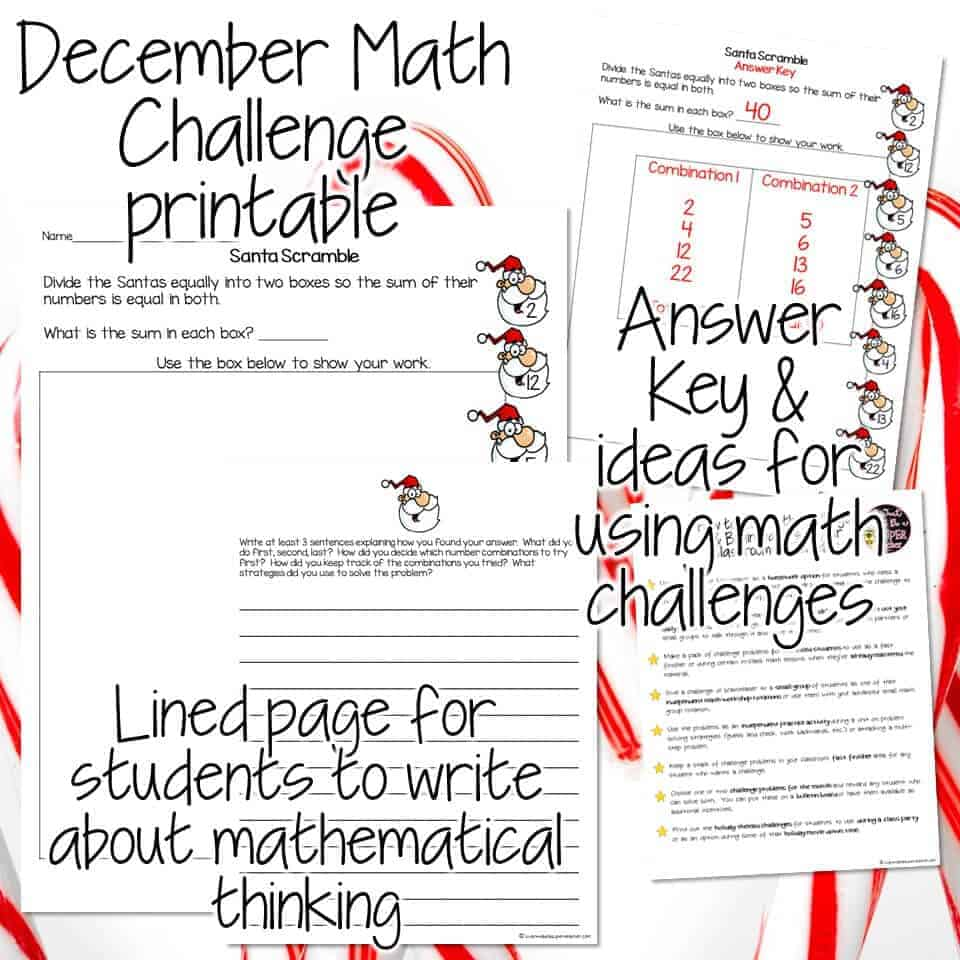 A FREE Christmas math activity for 2nd & 3rd grade kids. Use this Santa themed math printable as a challenge for your second and third grade elementary students! This Christmas math challenge problem can be used as a whole class number talk activity, advanced math center, fast finisher, morning work, early finisher, Christmas activity printable, or homework worksheet for December. Click for the free Christmas printable! #christmas #math #freebie #secondgrade #thirdgrade