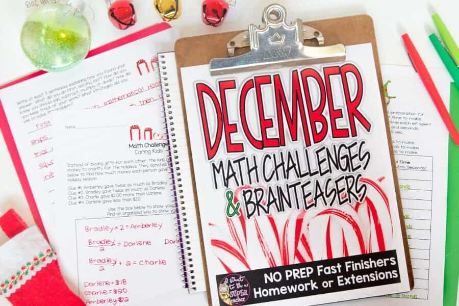 Fun Christmas math activities for advanced 2nd & 3rd grade students. PRINT & GO! These Christmas Math Challenge and brain teaser printables are perfect for December math centers, homework, problem of the week, fast finishers, math enrichment, or small group learning. Includes 29 Christmas math problems for second grade, third grade, or home school classrooms. These Christmas math worksheets are fun for kids and NO PREP for teachers! Click for details. #secondgrade #thirdgrade #christmas #math