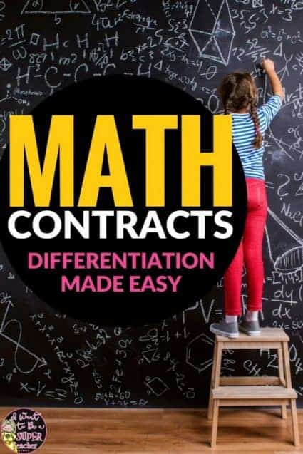 Need an easy way to start challenging those advanced math kids NOW? Try math contracts! A simple strategy for elementary classroom teachers to differentiate for advanced math students. Works in 2nd, 3rd, 4th, or 5th grade classrooms. Click to learn more + get a FREE editable math contract! #education #math #differentiation #freebie #elementaryeducation #elementaryclassroom #freeprintables #teach #teacher