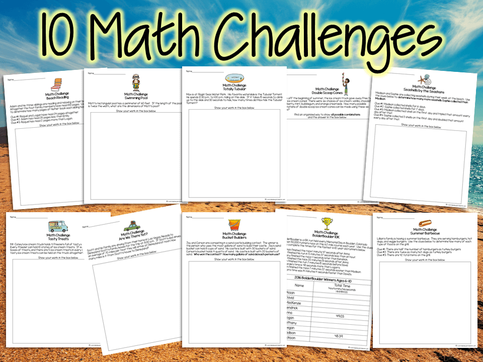 Summer Math Challenges & Brainteasers - I Want to be a ...