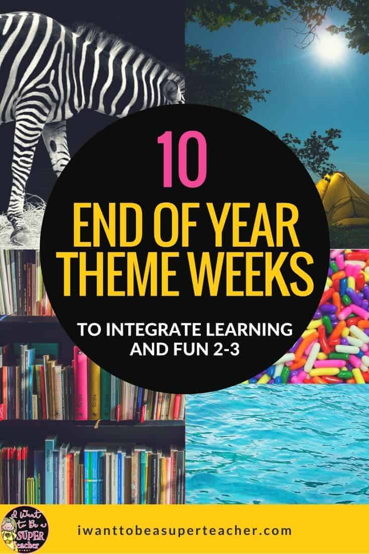 It's the end of the year! Keep your 2nd and 3rd grade students learning with these theme week celebration ideas. Teachers can use these 10 classroom themes to integrate subject areas and classroom activities for end of the school year FUN! Head over for theme week ideas & activities to integrate with second and third grade reading, math, writing, science, social studies & art. Includes fun activity ideas, printable resources, links, and free downloads. #education #endoftheyear #classroomthemes