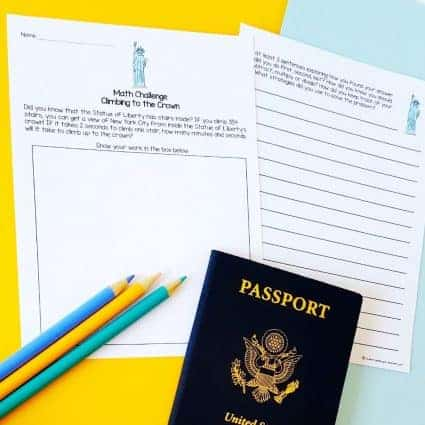 A FREE travel themed math activity for 2nd and 3rd grade kids! Teachers can use this free math printable for math centers, morning work, a fast finisher, enrichment, homework, or a number talk. Perfect for a travel themed classroom, the end of the year, or to integrate math and social studies! Includes a Statue of Liberty math challenge, lined page for students to write about their mathematical thinking + answer key. Click for the free download. #free #math #secondgrade #thirdgrade #education