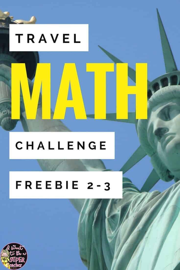 A FREE travel themed math activity for 2nd and 3rd grade kids! Teachers can use this free math printable for math centers, morning work, a fast finisher, enrichment, homework, or a number talk. Perfect for a travel themed classroom, the end of the year, or to integrate math and social studies! Includes a Statue of Liberty math challenge, lined page for students to write about their mathematical thinking & answer key. Click for the free download. #free #math #secondgrade #thirdgrade #education