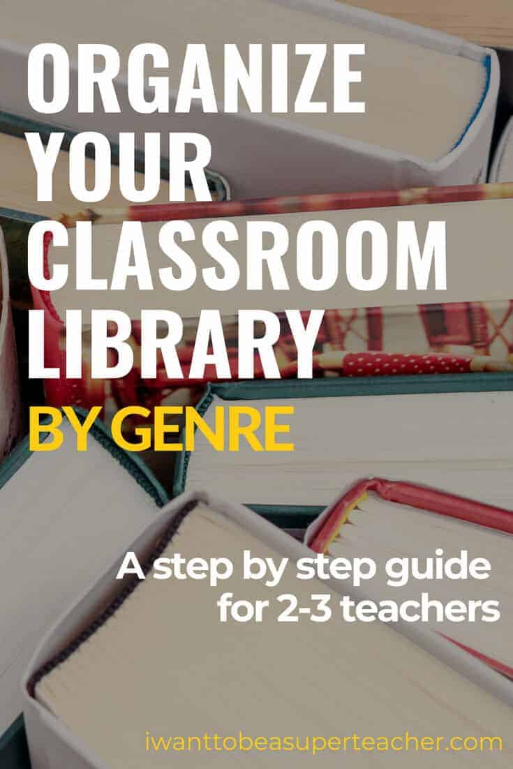 Looking for classroom library organization ideas? Check out this step by step setup for 2nd and 3rd grade elementary teachers looking to organize their classroom library by genre. You'll find library labels, book bins, storage tubs, and student book boxes + genre lists, and personalized labels for your own teacher books. Click for the step by step instructions and start getting that classroom library organized! #secondgrade #thirdgrade #education #classroomlibrary #organization #teacher
