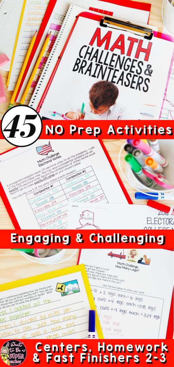 No stress math challenges! Engage your high flying 2nd and 3rd grade elementary students with these fun math activities. 45+ NO PREP math challenge and brain teaser printables teachers can use for math centers, fast finishers, math homework, problem of the week, small groups, or whole class problem solving. Perfect for second or third grade teachers looking for fun advanced math problems for students. #secondgrade #thirdgrade #math #mathchallenges #brainteasers #mathcenters