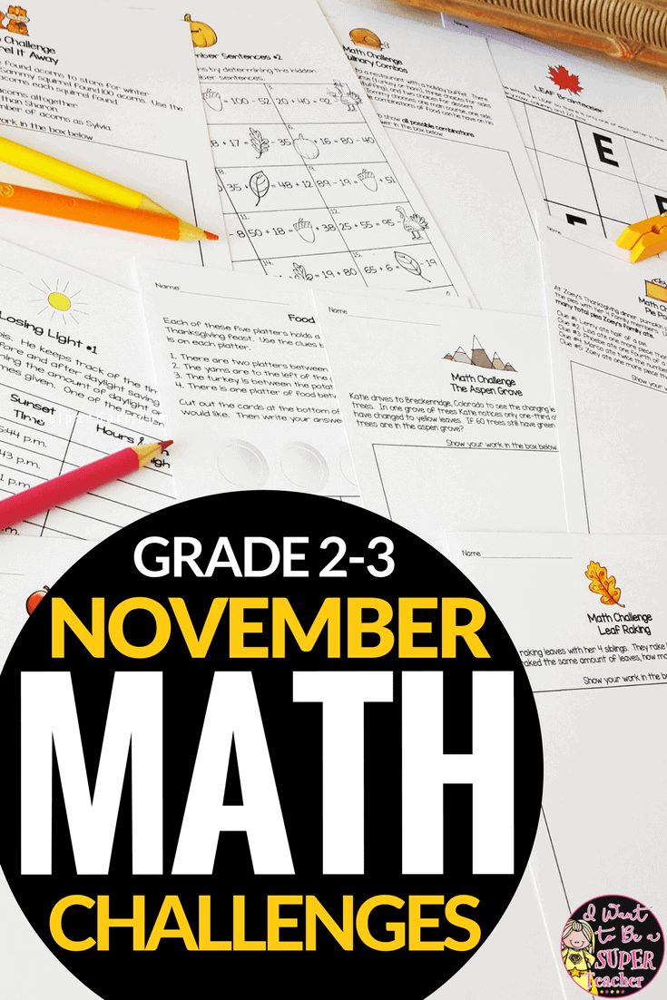 Thanksgiving math activities for 2nd or 3rd grade in November. Use these engaging Thanksgiving math printables with fall themes for math centers, morning work, number talks, math homework, fast finishers, math enrichment, problem of the week, bell work, or small group learning. Perfect for advanced second and third grade students. These 26 math worksheets are FUN for kids and NO PREP for teachers! Click for details. #secondgrade #thirdgrade #iwanttobeasuperteacher #education #math #thanksgiving