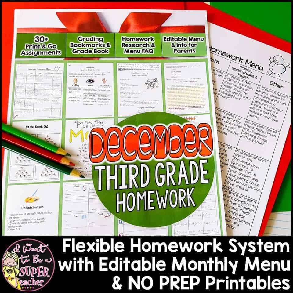 3rd Grade Homework December Monthly Homework Menu 40 Printables