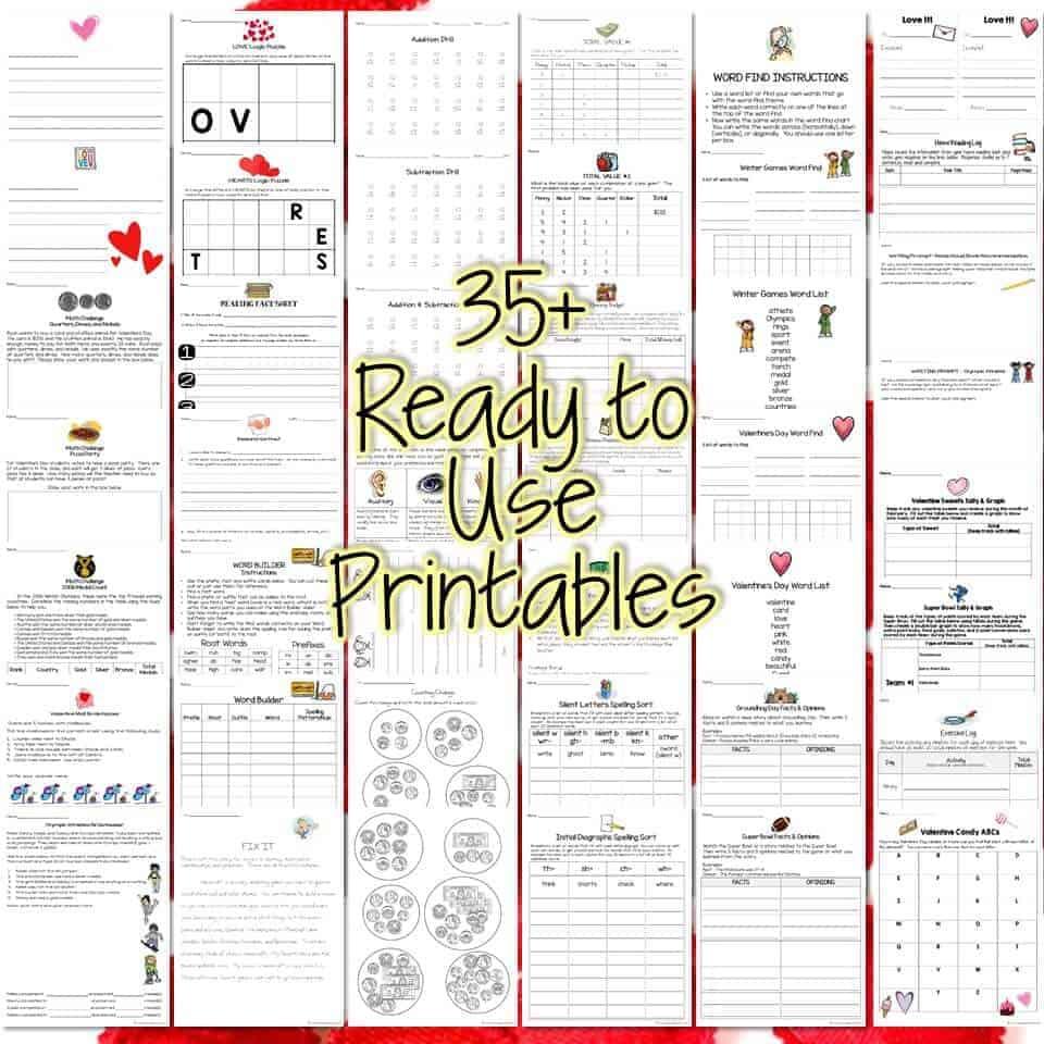 3rd Grade Homework February | Monthly Homework Menu & 35+ Printables