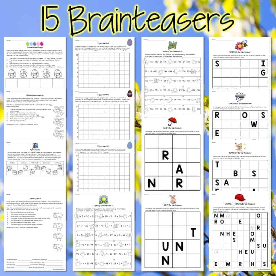 Easter Math Challenges & Brainteasers 2nd & 3rd Grade Math Activities for  April