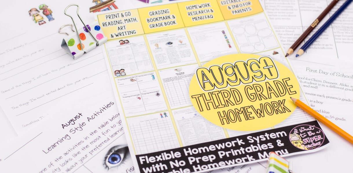 homework-menus-3rd-grade-back-to-school